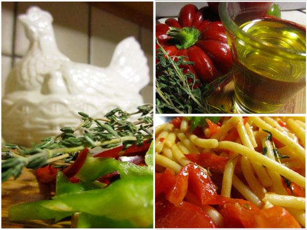 Pasta Pomodoro with Chili Thyme Oil