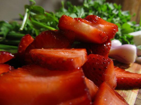 Arugula with Strawberries & Goat Feta