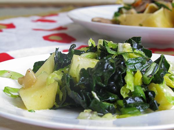 Kale & Brussels Sprouts Salad with Crisp Apples & Meyer Lemon Vinaigrette