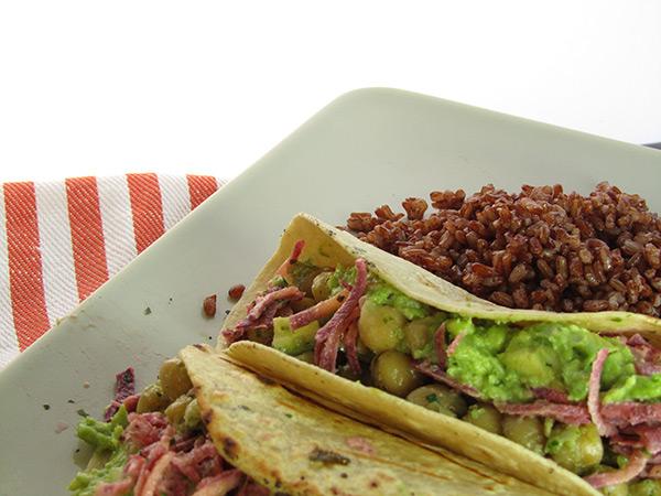 Vegan Chickpea Tacos with Guacamole & Purple Carrots Mighty Arrow Beer