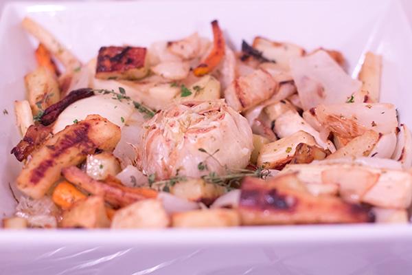 Roasted Potatoes, Garlic, Carrots, Turnips, Parsnips, Onions, Garlic, & Herb Oil