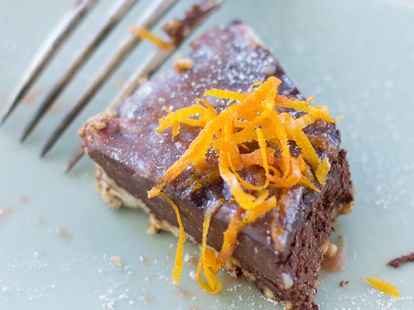 Vegan and Gluten Free Chocolate Tart with Blood Orange Caramel