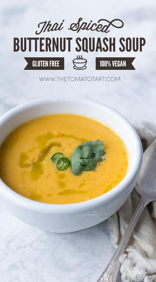 Thai Butternut Squash Soup, Vegan, Gluten Free, Paleo
