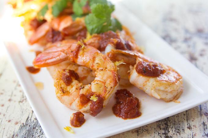 Spanish Style Sautéed Shrimp with Quick Garlic Tomato Sauce from https://www.thetomatotart.com
