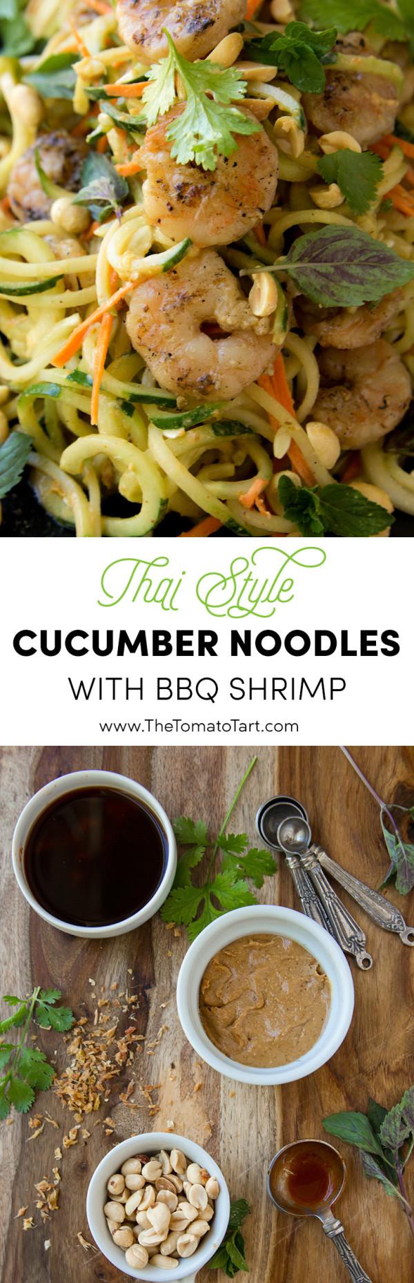Thai Cucumber Noodle Salad with BBQ Shrimp. Grain Free, Gluten Free, Paleo Option