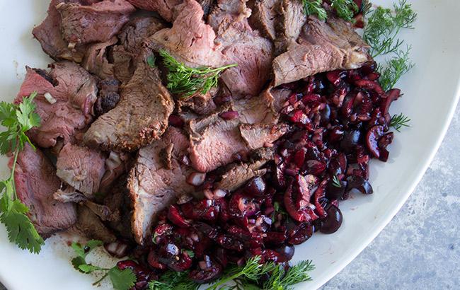 BBQ Roast Beef Recipe with Cherry Relish